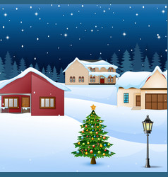 night winter village landscape with snow covered h vector image