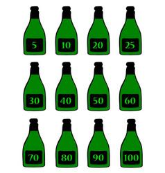 Numbered green bottles vector