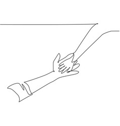 one line drawing father giving hand to his vector image