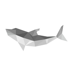 origami shark isolated on white background vector image