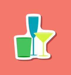 Paper sticker cocktail glasses vector