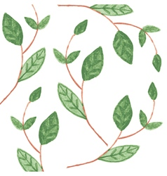 Pattern with Watercolor green leaves vector image