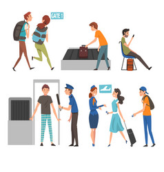 people in airport set passengers passing through vector image