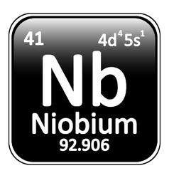 Periodic table element niobium icon vector