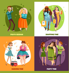 plus size women design concept vector image