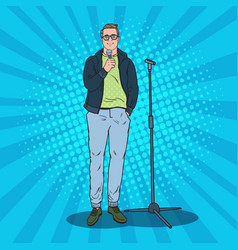 Pop art handsome man with microphone male singer vector