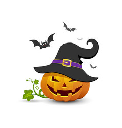pumpkin hat and bat design vector image