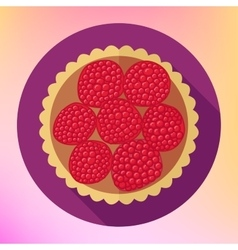 Raspberry cupcake dessert top view vector image
