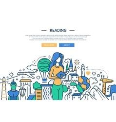 Reading - line design website banner vector image