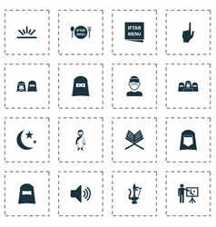Religion icons set with teaching hijab menu and vector
