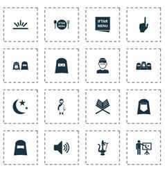 Religion icons set with teaching hijab menu vector