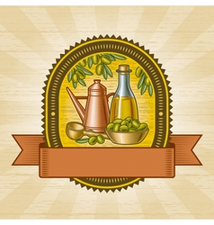 Retro olive harvest label vector image