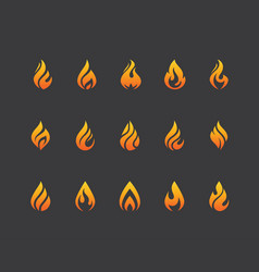 set fire flame icons and logo isolated on black vector image