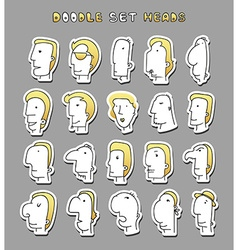 Set of 20 different avatar men characters Face Boy vector image
