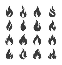 set of flame fire design vector image