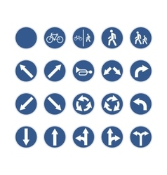 Set of round blue road signs on white vector image