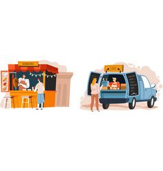 shawarma and coffee street food and snacks to go vector image