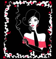 Smoking girl vector