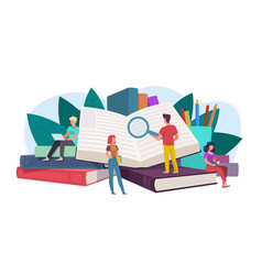 Students young people readers sitting lying on vector