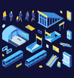 subway elements background set vector image
