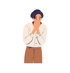 Surprised shocked man cover face with hands vector