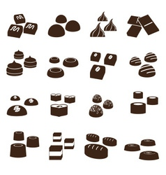 Sweet chocolate truffles styles icons set eps10 vector