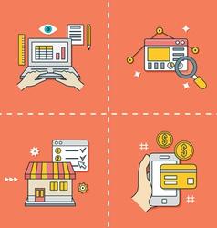 Symbols for online shopping analytics e-commerce vector