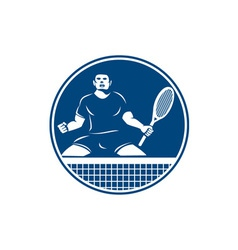 Tennis player racquet fist pump icon vector