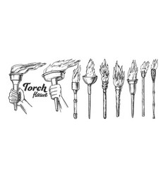 Torch burning collection monochrome set vector