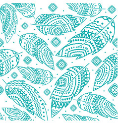 Turquoise boho feather pattern vector