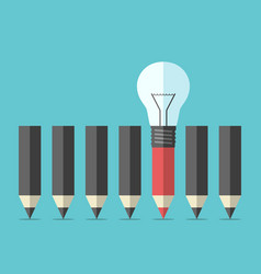 unique pencil with lightbulb vector image