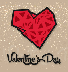 Valentine day polygon heart and star background ve vector
