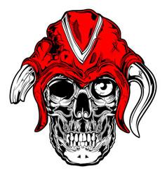 viking skull face red black vector image