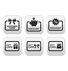 Voucher gift discount card buttons set vector image