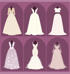 wedding bride dress elegance style celebration vector image