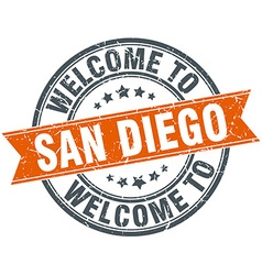 Welcome to San Diego orange round ribbon stamp vector