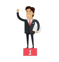 Winner on pedestal in flat vector