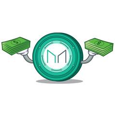 With money maker coin mascot cartoon vector