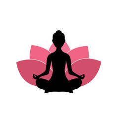 Yoga woman silhouette pink lotus flower logo vector