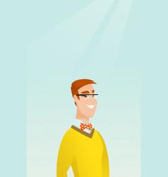 Young caucasian man wearing smart glasses vector