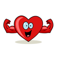 cartoon character of a heart with muscular hands vector image vector image
