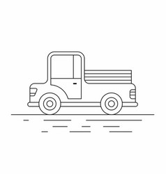 farmer pickup truck line icon vector image vector image