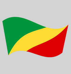 flag of the congo republic waving gray background vector image vector image