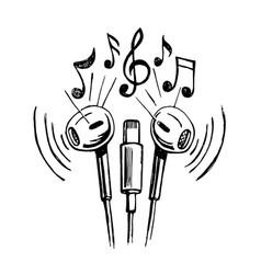 mobile headphones doodle sketch vector image vector image