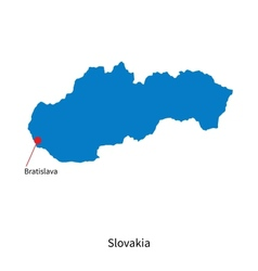 Detailed map of Slovakia and capital city vector image