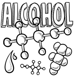 doodle science molecule alcohol vector image