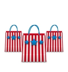 Shopping Bags in American Patriotic Colors vector image vector image