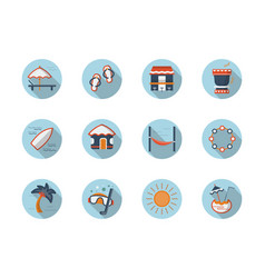 summer rest round flat color icons set vector image