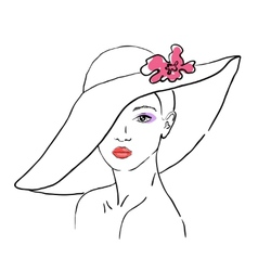 A sketch of the woman in a hat with flower vector image