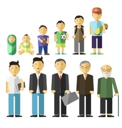 Aging concept of male characters vector image vector image
